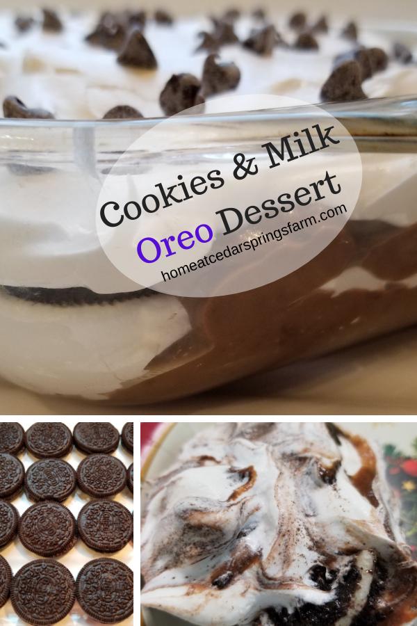 Cookies & Milk Oreo Dessert #cookiesandmilk #nobakedessert #cookiesandmilkoreodessert #homeatcedarspringsfarm.com